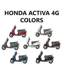 grey honda honda activa 4g colors red brown silver white blue grey