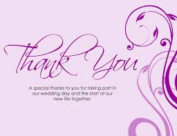 thanksgiving card wording a special thanks to you for taking part in our wedding day and the