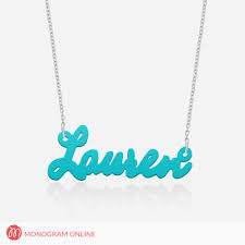 acrylic name necklace name necklace silver or gold plated chain