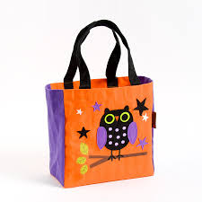 owl canvas trick or treat bag
