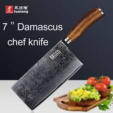 vg10 kitchen knives sunlong 7 inch slicing knives damascus steel kitchen knife cleaver