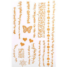 1pc long necklace bracelet gold tattoos temporary tattoos sticker