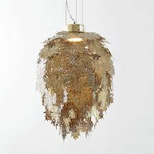 silver pendant light shade kung modern etching stainless leaves led pendant light gold silvers