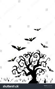 Halloween Flying Bats Halloween Tree Flying Bats On Graveyard Stock Vector 502449568