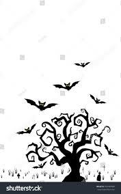Halloween Card Invitation Halloween Tree Flying Bats On Graveyard Stock Vector 502449568