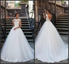 milla nova 2016 ball gown wedding dresses sheer bateau neck cap