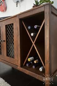 diy wooden sideboard record cabinet with wine rack