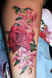 3d lily and rose tattoos design idea for men and women