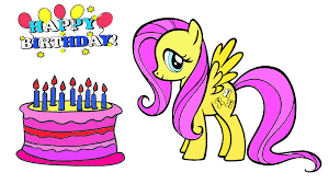 my little pony happy birthday fluttershy mlp coloring book