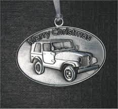 all things jeep pewter tree ornament featuring a jeep
