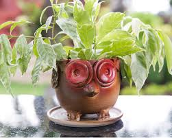animal planter ceramic animal planter owl kopai paar indian craft store