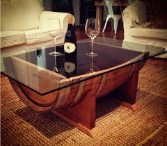 wood coffee table with glass top wine barrel coffee table glass top upcycled wood designs