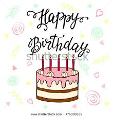 happy birthday cake card vector illustration stock vector 93950671