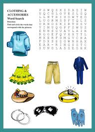 clothing and accessories word puzzles kids