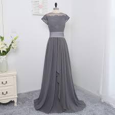 a line high collar cap sleeves gray chiffon long bridesmaid dress