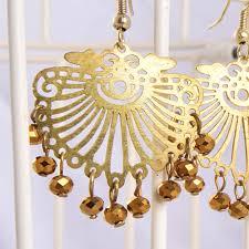 brown jali design chandelier fancy earring