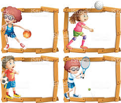 frame template with kids playing sports stock vector art 655913914