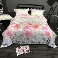 Betty Boop Duvet Set 60s Tencel Silk Floral Print Bedding Set 4pc Queen King Size