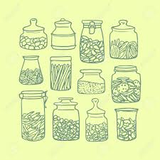 yellow kitchen canisters vector illustration of hand drawn kitchen jars filled with