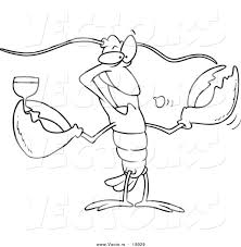 vector of a cartoon lobster drinking wine outlined coloring page