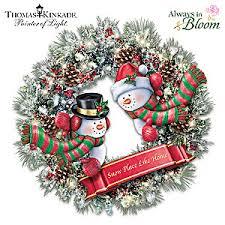 kinkade winters welcome light up wreath