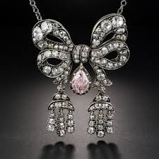 light diamond necklace images Antique diamond bow necklace with light pink diamond drop jpg