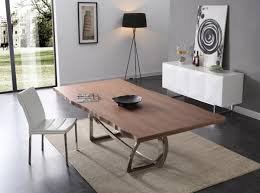 addy modern walnut u0026 stainless steel dining table