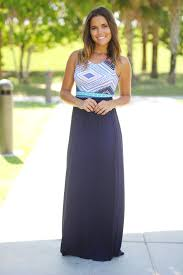 navy maxi dress with printed top u2013 saved by the dress