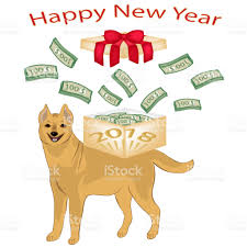 new year dollar bill new year card christmas the symbol of the new 2018 yellow dog wads