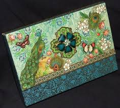 punch studio blue green gold peacock butterfly flower note post