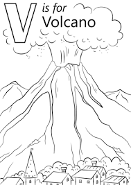 coloring pages volcano v is for volcano coloring page free printable coloring pages