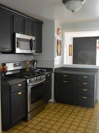dark gray cabinets small corner kitchen ideas gas range and vent