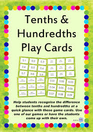 tenths u0026 hundredths game playing flash cards for teaching decimals