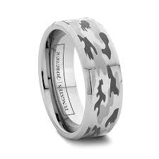 camo mens wedding bands 6mm or 8mm camo wedding rings for men beveled tungsten