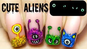 cute aliens glow in the dark freehand nail art tutorial youtube