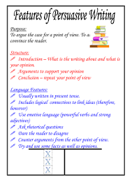 features of persuasive writing poster by moshing teaching
