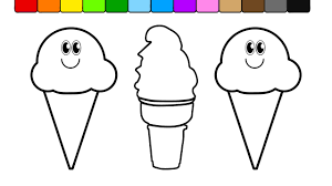 learn colors for kids and color this ice cream coloring page 57