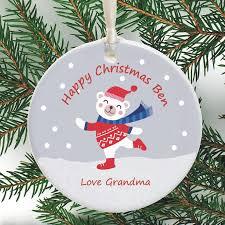 cute personalised christmas ornament snowy bear design