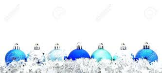 Christmas Decorations In Blue And Silver by Blue Christmas Bauble Border With Silver Garland Stock Photo