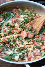sausage and white beans with spinach