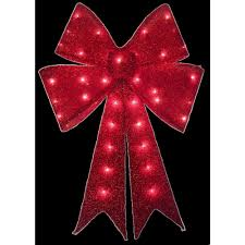 Home Accents Holiday 24 In Pre Lit Red Tinsel Bow Ty419 914 The