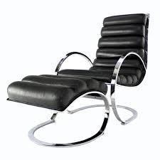 modern chair with ottoman chrome and leather mid century modern lounge chair ottoman at within
