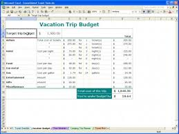 Travel Budget Template Excel Vacation Trip Planner Vacation Trip Planner Template