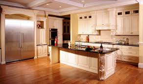 interior wooden types of kitchen flooring with white quartz