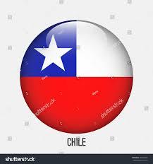 Chile Santiago Flag Chile Flag Circle Shape Transparentglossyglass Button Stock Vector