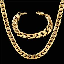 chain set necklace bracelet images Dubai african jewelry set hiphop thick chain gold color mens jpg