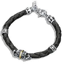 black leather bracelet with silver images Silver 18k gold fleur de lis braided leather bracelet jpg