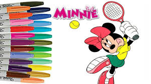 disney minnie mouse playing tennis coloring book page how to color