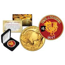 new year gold coins new year year of the rooster 24 karat gold plated 50