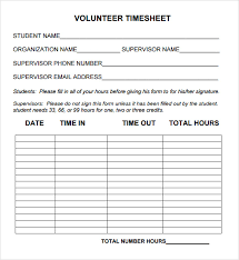 volunteer timesheet template u2013 sample example format download
